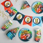 Набор бумажной посуды «С днём рождения», крутые тачки: 6 тарелок, 6 стаканов, 6 колпаков, 1 гирлянда - фото 7411175