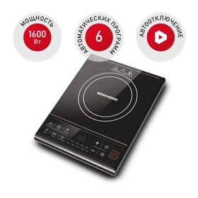 Плитка электрическая REDMOND RIC-4601, 1600 Вт, 1 конфорка, дисплей, таймер, чёрная