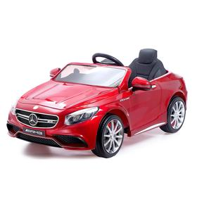 Электромобиль MERCEDES-BENZ S63 AMG, EVA колёса, кожаное сидение, цвет красный глянец