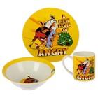 "Набор посуды ""Angry Birds. Классика"", 3 предмета: кружка 220 мл, тарелка 19 см, салатник 520 мл 17,5 см"