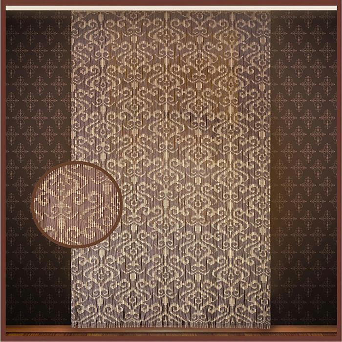 Штора на шторной ленте  беж. цв.коричн.с, 160х265 см, арт.р.С855А