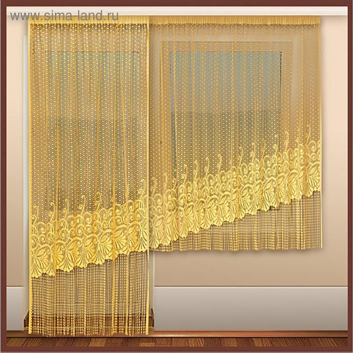 Комплект штор 120х245, 245х180 см, цв.золотистый 100% п/э арт.р.С901БК