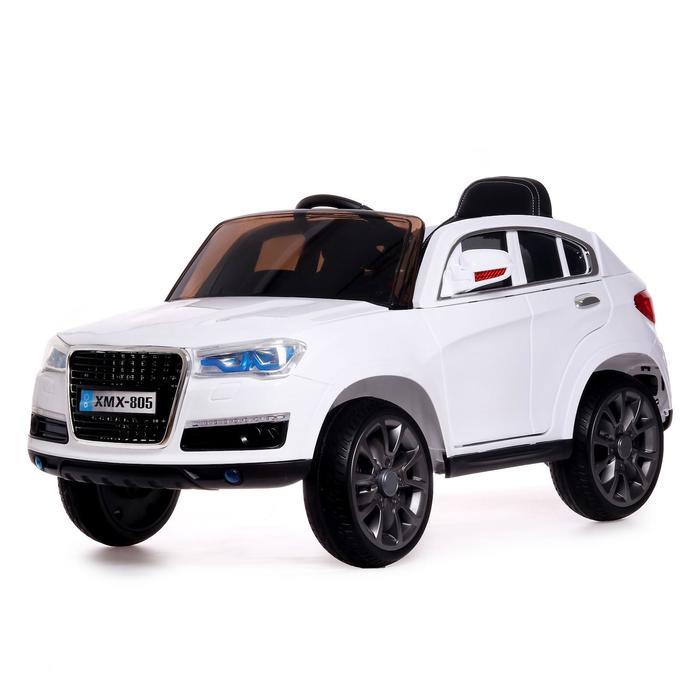 Электромобиль «Кроссовер», 2 мотора, EVA колёса, кожаное сидение, цвет белый