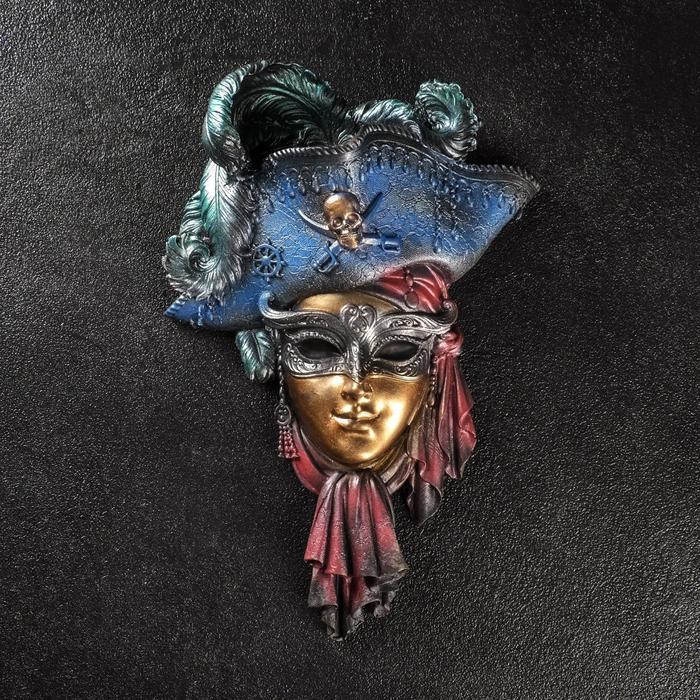 """Венецианская маска """"Пират"""" 30см  золото МИКС"""