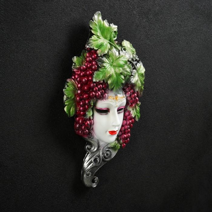 """Венецианская маска """"Виноград""""  30см белая"""