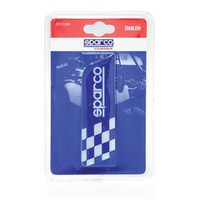 Эмблема с логотипом SPARCO, клеится на кузов, флаг в шашечку, синий