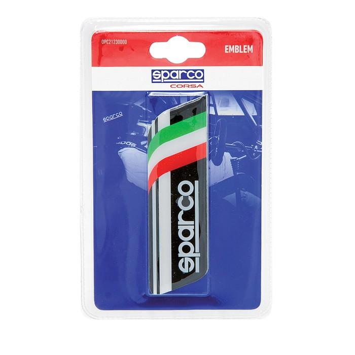 Эмблема с логотипом SPARCO, клеится на кузов, итальянский флаг, чёрный