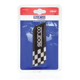 Эмблема с логотипом SPARCO, клеится на кузов, флаг в шашечку, чёрный