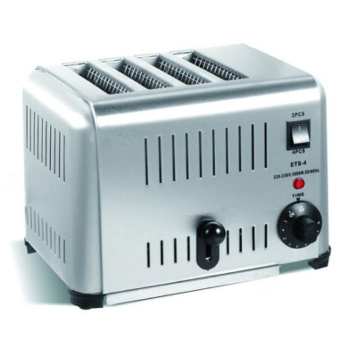 Тостер GASTRORAG TT-ETS-4, электрический, 1800 Вт, 4 тоста, поддон для крошек, серебристый