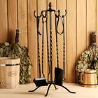 """Каминный набор кованый """"Спирали"""", цвет бронза, 4 предмета: кочерга, щипцы, совок, метёлка"""