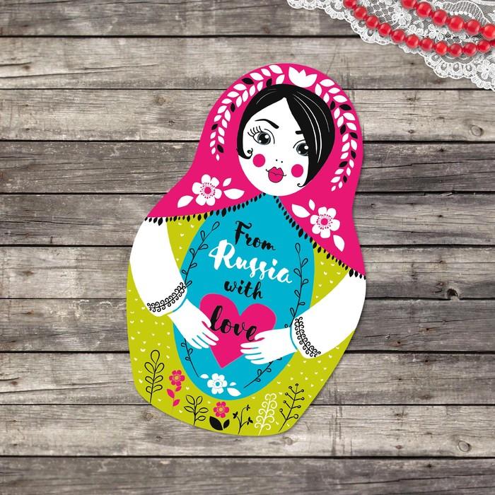 День весны, открытка матрешка с шариками