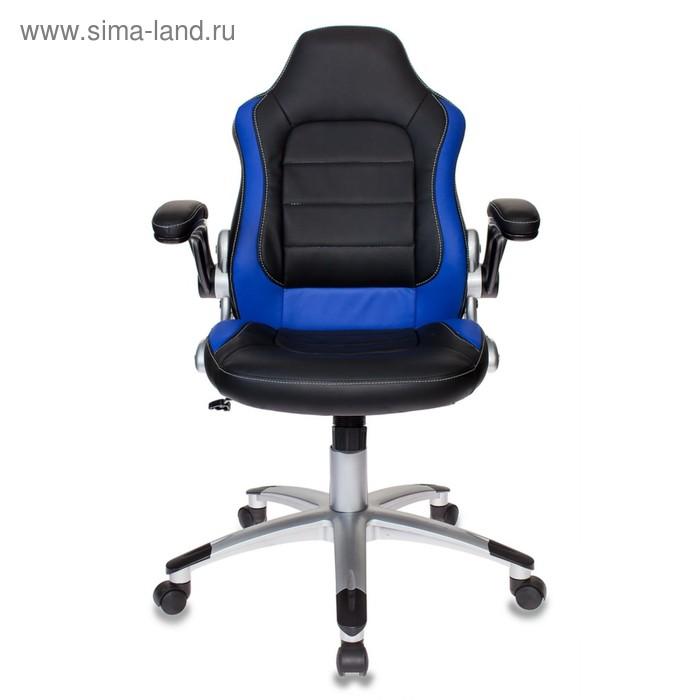 Кресло игровое Бюрократ VIKING-1/BL+BLUE, искусственная кожа, чёрный/синий