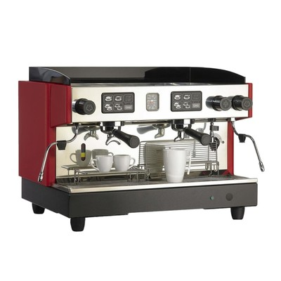 Coffee machine Gino GCM-322, 2 groups, 1 steam crane, 240 cups/h red/gray