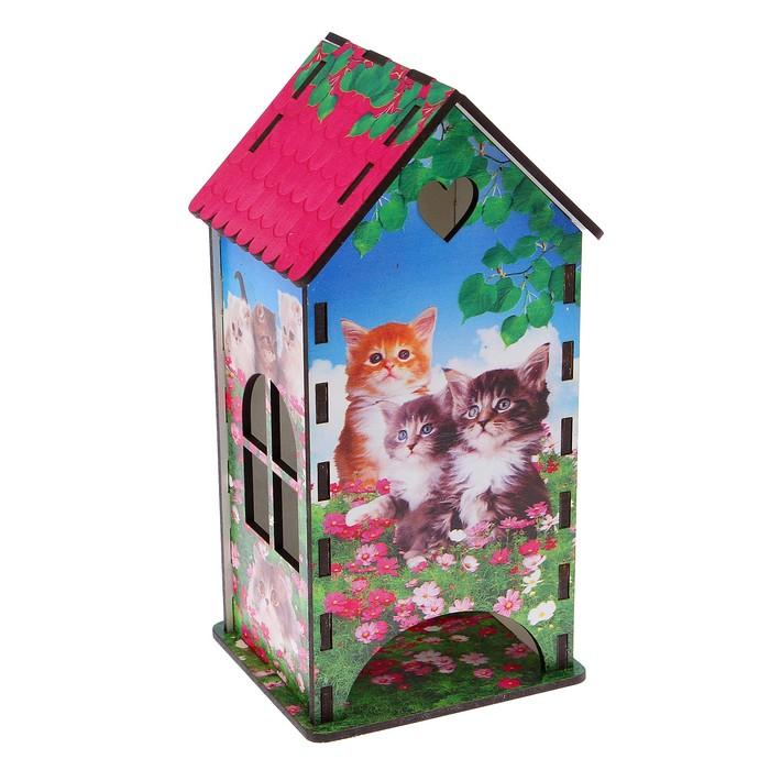 Чайный домик «Коты в цветах», 9,3х9,3х20 см