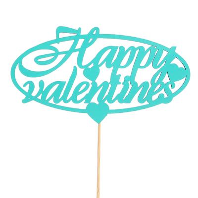 Топпер «Happy valentines», мятный, 12,5х6,5 см