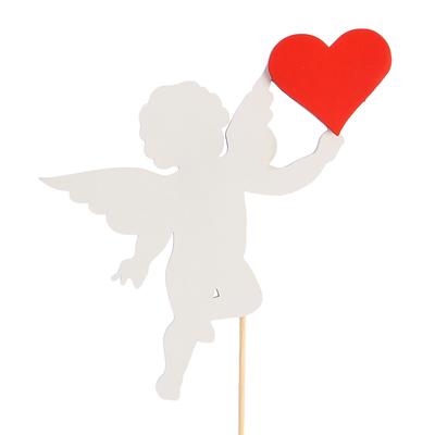 Топпер «Ангелок с сердцем», двухслойный, бело-красный, 11,5х9 см