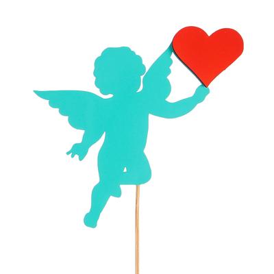 Топпер «Ангелок с сердцем», двухслойный, мятно-красный, 11,5х9 см