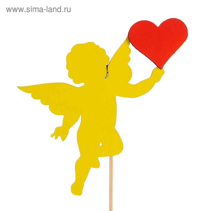 Топпер «Ангелок с сердцем», двухслойный, жёлто-красный, 11,5х9 см