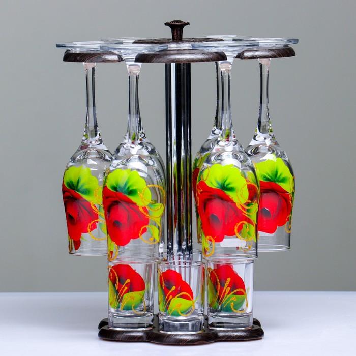 """Мини-бар """"Красная роза"""" 12 предметов, художественная роспись  200/50 мл"""