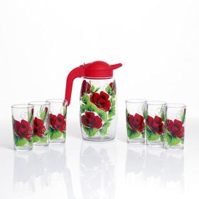 """Набор для сока """"Красная роза"""" художественная роспись, 6 стаканов  1250/200 мл"""