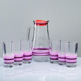A set for juice Blueberry art painting, 6 cups 1250/200 ml