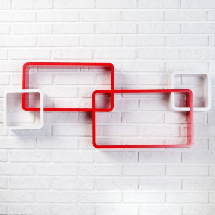 Набор полок белый+красн, 2квад (снаружи 22*22см, толщ 3см)+2прям (снаружи 29*29см, толщ 3см)