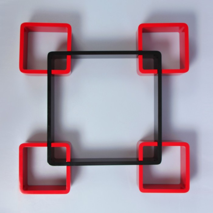 Набор полок черн+красн, 1квад (снаружи 44*44см, толщ 2см)+4квад (снаружи 19*19см, толщ 2см) 277044
