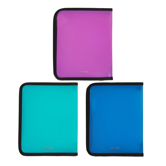 Папка пластиковая А5+, молния вокруг, Erich Krause цветная Glance Vivid, МИКС