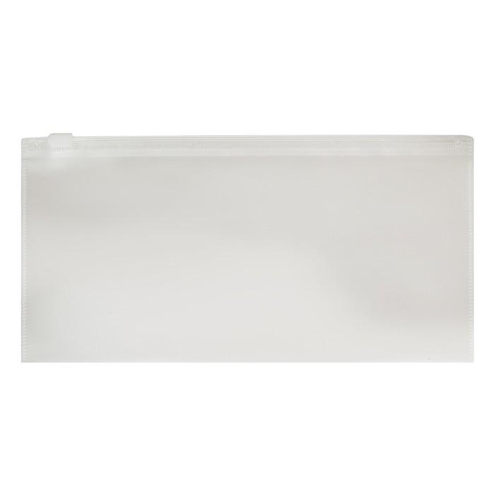 Папка-конверт на гибкой молнии Zip TRAVEL (255*130 мм) Erich Krause FIZZY, прозрачный, тиснение - orange peel