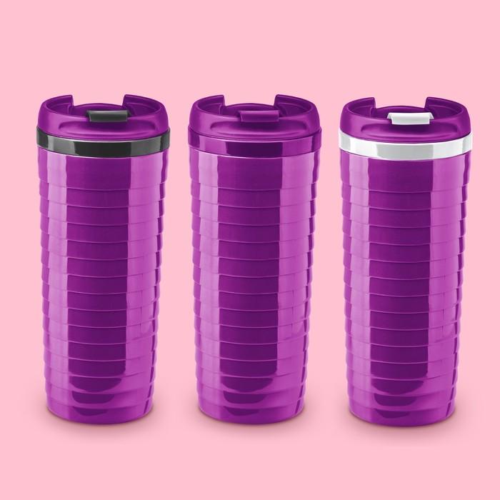 Термостакан ребристый фиолетовый МИКС (, 2621372, 2621371)