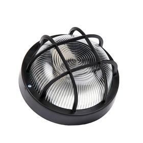Светильник 'ЭЛЕТЕХ' Фарпласт НБО 23-60-004, 60 Вт, IP44, круг, корпус с решеткой, черный Ош