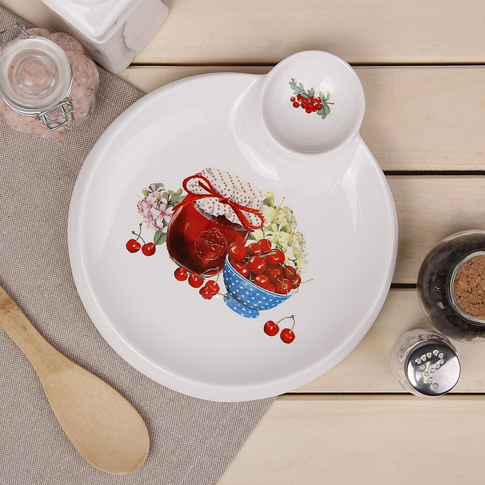 Блюдо круглое с соусником Доляна «Вишнёвое варенье», 22,5×20×2 см