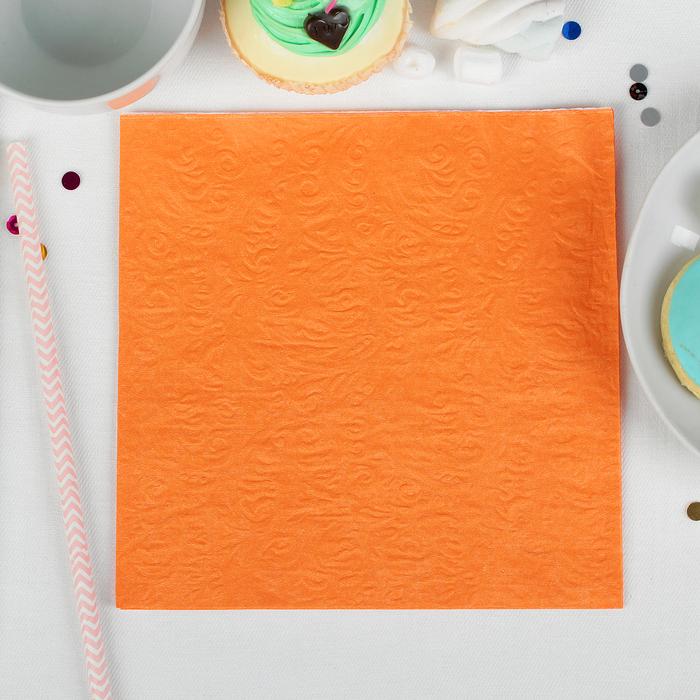 Салфетки оранжевые (набор 20 шт) 33*33 однотонные, выбит рисунок, цвет оранжевый