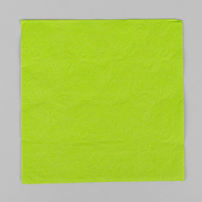 Салфетки бумажные, однотонные, выбит рисунок, 33х33 см, набор 20 шт., цвет светло-зелёный