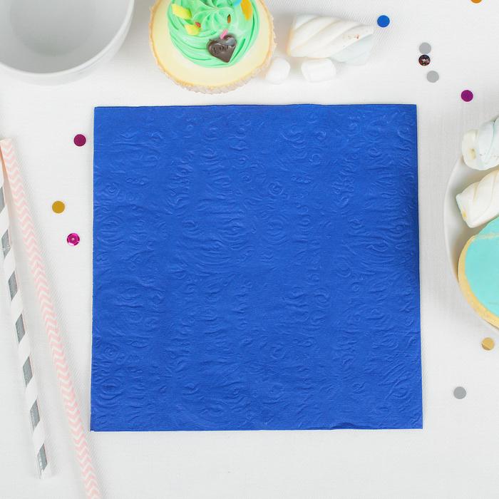 Салфетки бумажные однотонные, выбит рисунок, 33 × 33 см, набор 20 шт., цвет синий