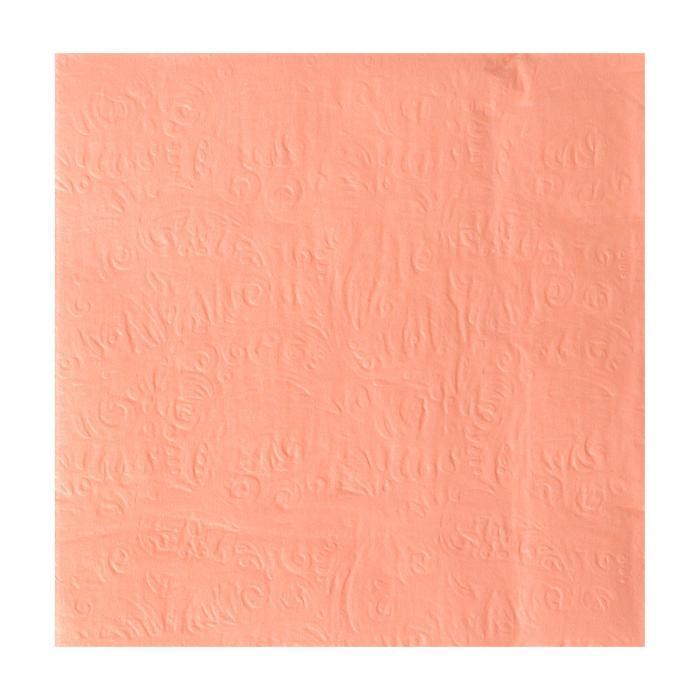Салфетки бумажные, набор 20 шт., 33 × 33 см, однотонные, выбит рисунок, цвет бледно-розовый