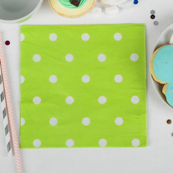 """Салфетки бумажные """"Горох"""" (набор 20 шт) 33*33 см, цвет зелёный"""