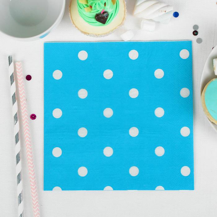 """Салфетки бумажные """"Горох"""", двуслойные, набор 20 шт., 33 × 33 см, цвет голубой"""