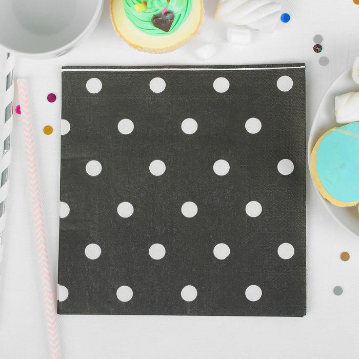 """Салфетки бумажные """"Горох"""" (набор 20 шт) 33*33 см, цвет чёрный"""