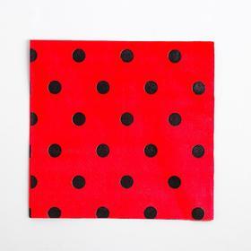 Салфетки бумажные, набор 20 шт., 33х33 см, чёрный горох, цвет красный