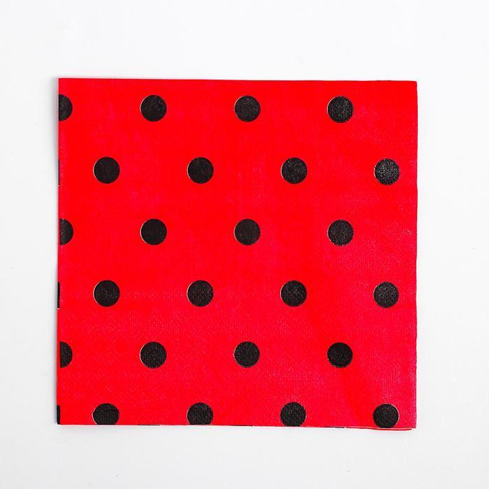 Салфетки бумажные (набор 20 шт) 33*33 см, цвет красный, чёрный горох
