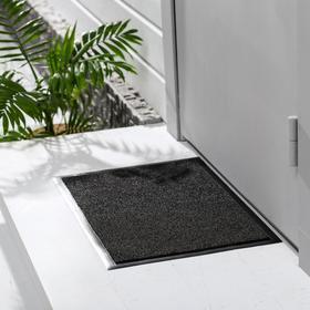 Коврик придверный влаговпитывающий Tuff, 40×60 см, цвет чёрный