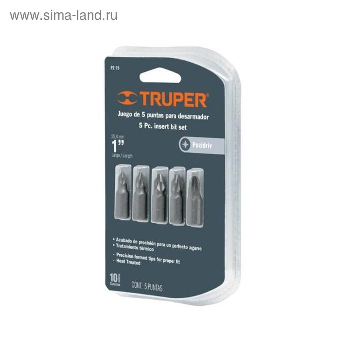 Набор бит повышенной прочности TRUPER PZ-15, сталь S2, Pz0 - Pz3, 25 мм, 5 шт