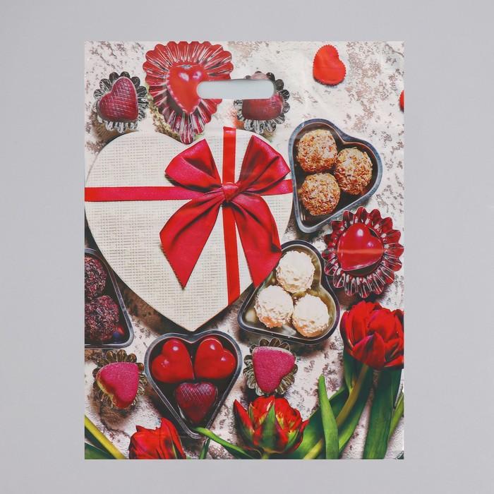 """Пакет """"Сладкое сердце"""", полиэтиленовый с вырубной ручкой, 40 х 50 см, 45 мкм"""