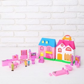 House for dolls 2 in 1, collapsible, with accessories