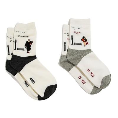 """Набор женских носков (2 пары) """"Свидание"""", цвет бежевый, размер 36-40"""