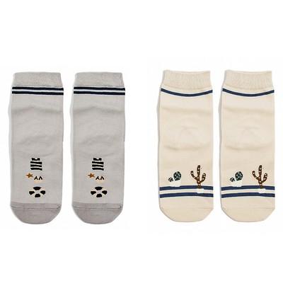 """Набор женских носков (2 пары) """"Море и пустыня"""", цвет бежевый/серый, размер 36-40"""
