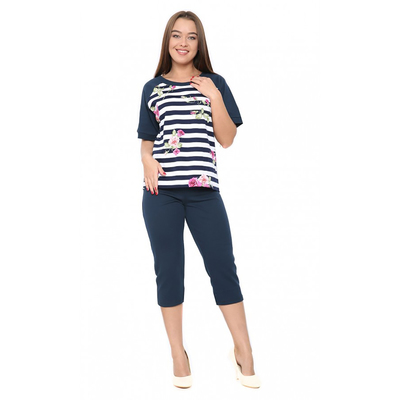 Комплект женский (футболка, бриджи) М129 цвет МИКС, р-р 46