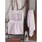 КМП в коробке SIKEL с вышивкой 50х90/70х140 2 пр. AFRODİT розовый бамбук 440г/м2