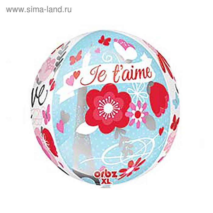"""Шар фольгированный 3D СФЕРА 16"""" Love Встреча в Париже""""  АГ"""
